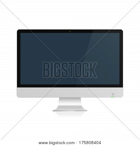 Computer display with blank screen. Vector isolated illustration.