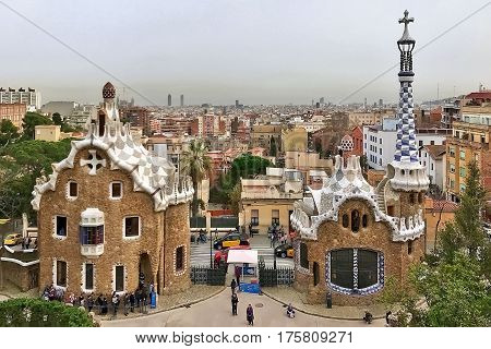 Barcelona, Spain, February 23, 2017: The entrance to Gaudi's Güell Park at Barcelona in Spain.