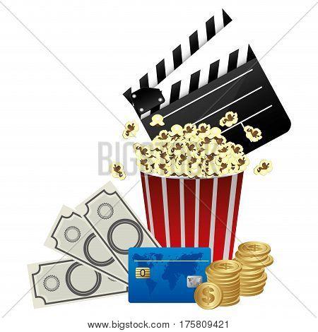 color clipper board, pop corn and money icon, vector illustraction design