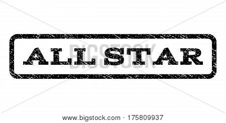 All Star watermark stamp. Text tag inside rounded rectangle frame with grunge design style. Rubber seal stamp with scratched texture. Vector black ink imprint on a white background.