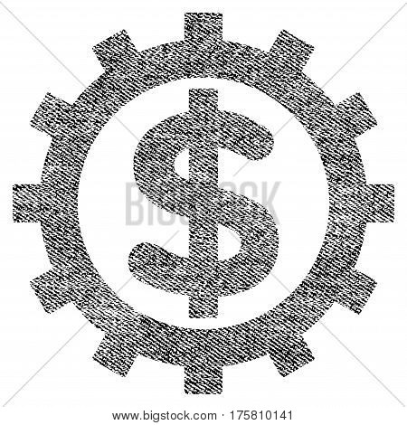 Financial Industry vector textured icon for overlay watermark stamps. Black jeans fabric vectorized texture. Symbol with dust design. Black ink rubber seal stamp with fiber textile structure.