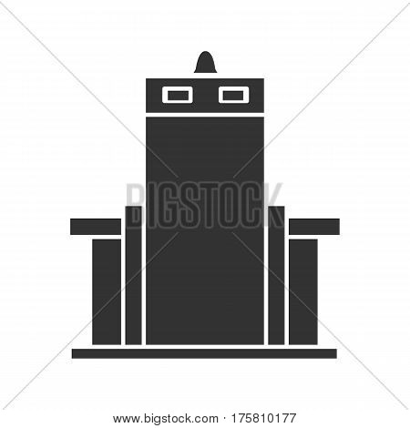 Metal scanner gate icon. Silhouette symbol. Negative space. Vector isolated illustration