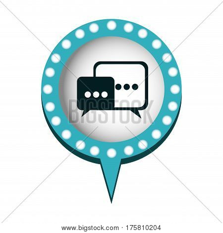 dialogue in circular speech with blue contour with dotted and tail vector illustration