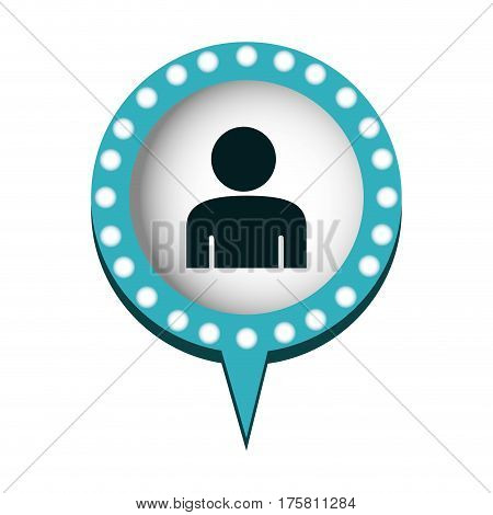 circular speech with blue contour with dotted and tail and half body man vector illustration