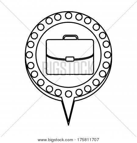 monochrome silhouette of executive briefcase and circular speech with contour dotted and tail vector illustration