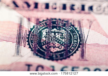 Macro photograph of a fifty dollar bill