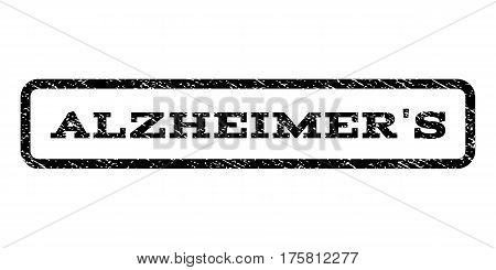 Alzheimer'S watermark stamp. Text caption inside rounded rectangle with grunge design style. Rubber seal stamp with scratched texture. Vector black ink imprint on a white background.