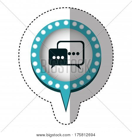 sticker with dialogue in circular speech with blue contour with dotted and tail vector illustration