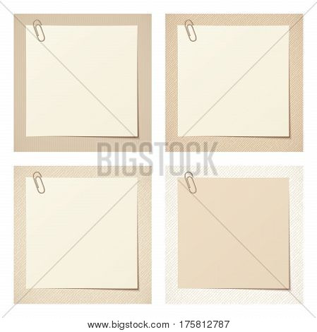 Set of four beige rustic blank cards. Vector eps-10.
