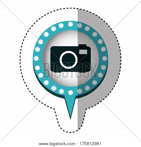 sticker of analog camera in circular speech with blue contour with dotted and tail vector illustration