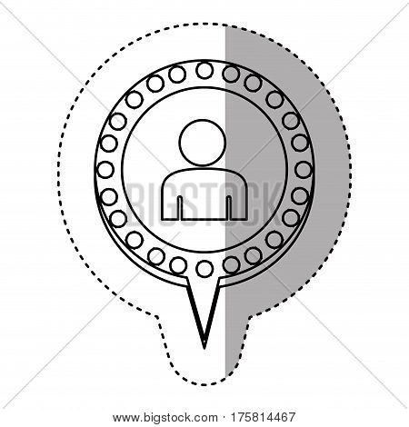 monochrome sticker with half body man and circular speech with contour dotted and tail vector illustration