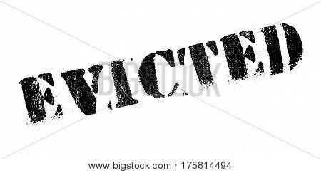 Evicted rubber stamp. Grunge design with dust scratches. Effects can be easily removed for a clean, crisp look. Color is easily changed.