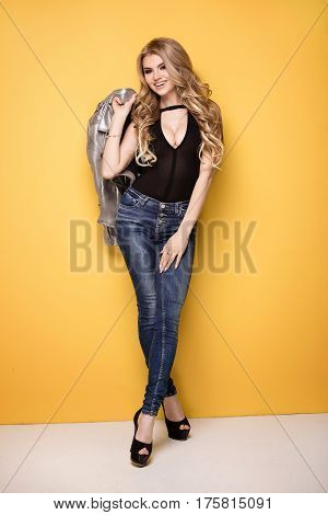 Fashion Photo Of Young Girl In Jeans.