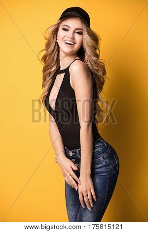 Fashion Photo Of Young Girl Smiling.