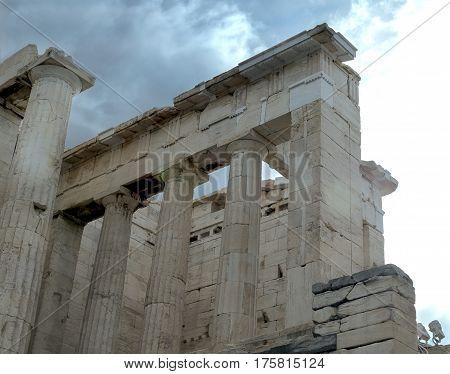 part of Parthenon in Acropolis Athens Greece