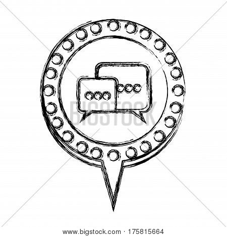 monochrome sketch with dialogue in circular speech with contour dotted and tail vector illustration