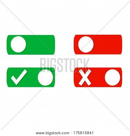 Set of check mark and close mark buttons.