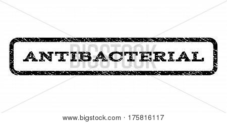 Antibacterial watermark stamp. Text tag inside rounded rectangle frame with grunge design style. Rubber seal stamp with dust texture. Vector black ink imprint on a white background.