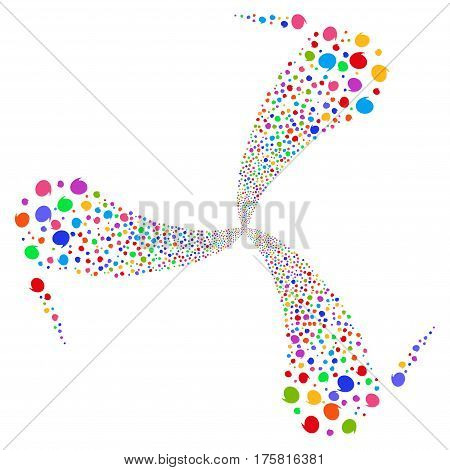 Quote fireworks swirl rotation. Vector illustration style is flat bright multicolored iconic symbols on a white background. Object whirl created from random icons.