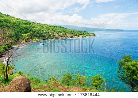 Blue ocean and shore in Bali, Amed