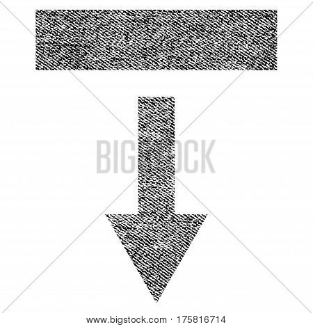 Pull Down vector textured icon for overlay watermark stamps. Black jeans fabric vectorized texture. Symbol with scratched design. Black ink rubber seal stamp with fiber textile structure.