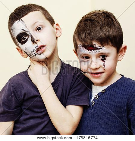 zombie apocalypse kids concept. Birthday party celebration facepaint on children dead bride, scar face, skeleton together, halloween holiday