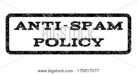 Anti-Spam Policy watermark stamp. Text caption inside rounded rectangle frame with grunge design style. Rubber seal stamp with scratched texture. Vector black ink imprint on a white background.