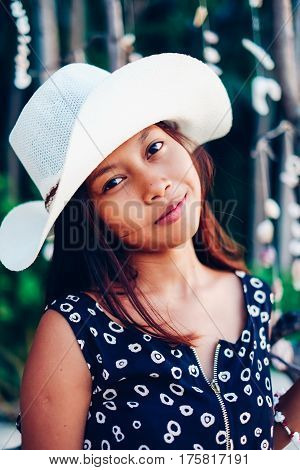 Summer Portrait Of A Beautifull Asian Girl In White Hat