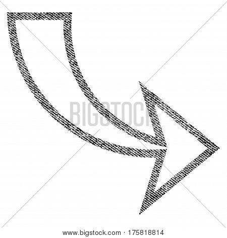 Redo vector textured icon for overlay watermark stamps. Black jeans fabric vectorized texture. Symbol with dust design. Black ink rubber seal stamp with fiber textile structure.