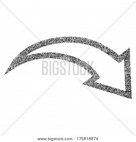 Redo vector textured icon for overlay watermark stamps. Black jeans fabric vectorized texture. Symbol with unclean design. Black ink rubber seal stamp with fiber textile structure.