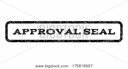 Approval Seal watermark stamp. Text caption inside rounded rectangle frame with grunge design style. Rubber seal stamp with dust texture. Vector black ink imprint on a white background.