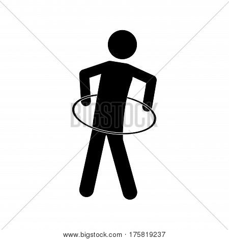monochrome pictogram with training in hula hoop vector illustration