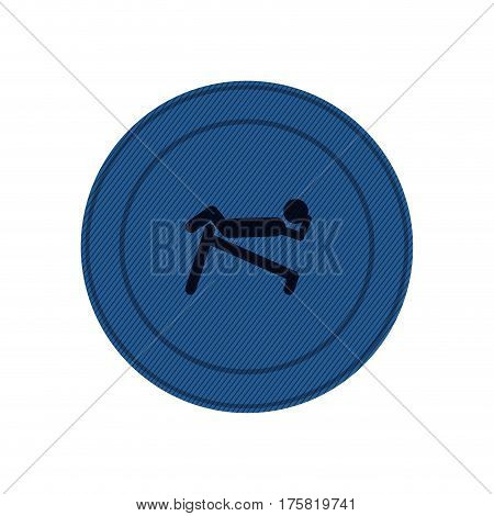 blue circular frame of abdominal training on inclined bar vector illustration