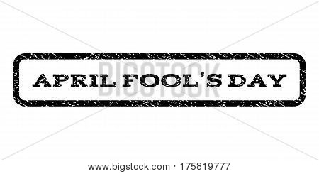 April Fool'S Day watermark stamp. Text tag inside rounded rectangle with grunge design style. Rubber seal stamp with dust texture. Vector black ink imprint on a white background.