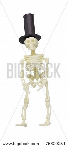 Skeleton Wearing a Formal Black Top Hat - path included