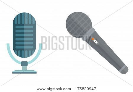 microphones types vector icons. Journalist microphone, interview music studio Web broadcasting, vocal, tv show isolated white background