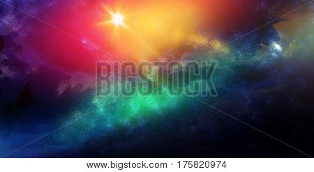 Celestial Art Stars and Galaxies in Outer Space Showing the Beauty of Space exploration. 3d Render 3d Illustration