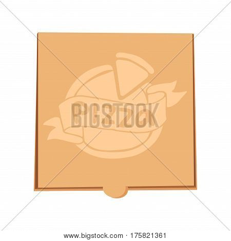 Pizza box vector illustration. Delivery service. Craft box isolated on background. Delivery pizza package business