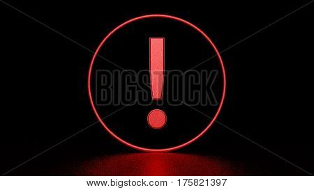 Red exclamation point in circle on black background. Graphic illustration. 3d rendering