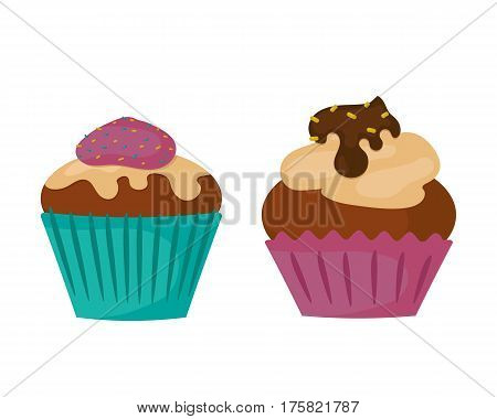 Sweets food bakery dessert confectionery teal birthday cupcake with butter cream icing design and snack chocolate cake holiday candy caramel icon vector illustration. Decorated snack muffin dessert.