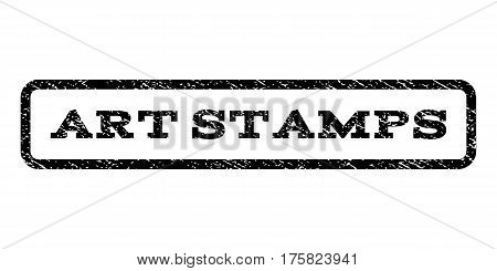 Art Stamps watermark stamp. Text caption inside rounded rectangle with grunge design style. Rubber seal stamp with dirty texture. Vector black ink imprint on a white background.