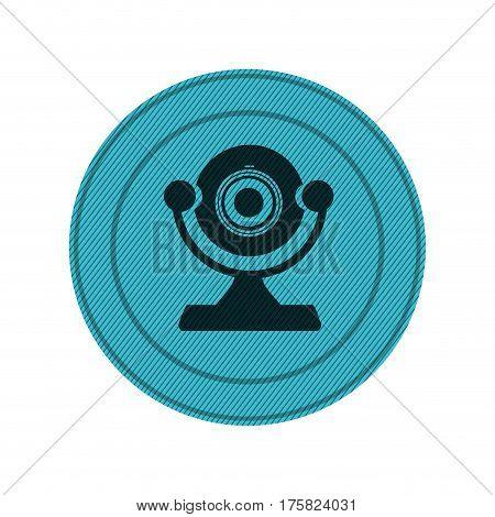 blue circular frame with desktop webcam vector illustration