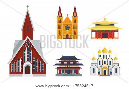 Cathedral churche temple building landmark tourism world religions and famous structure traditional city ancient old tower vector illustration. Historic monument tourist worship icon.