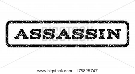 Assassin watermark stamp. Text caption inside rounded rectangle frame with grunge design style. Rubber seal stamp with dust texture. Vector black ink imprint on a white background.