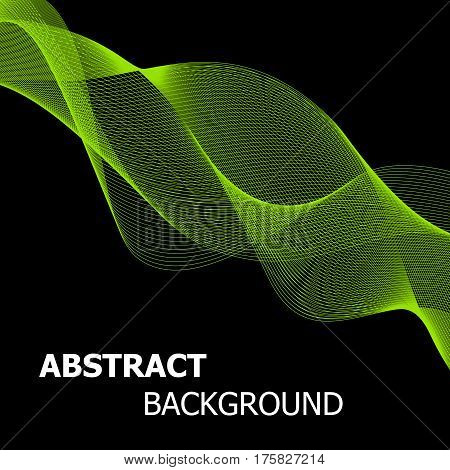 Abstract green line wave background, stock vector