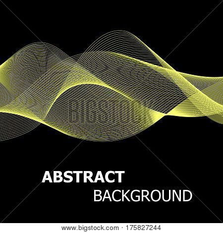 Abstract yellow line wave background, stock vector