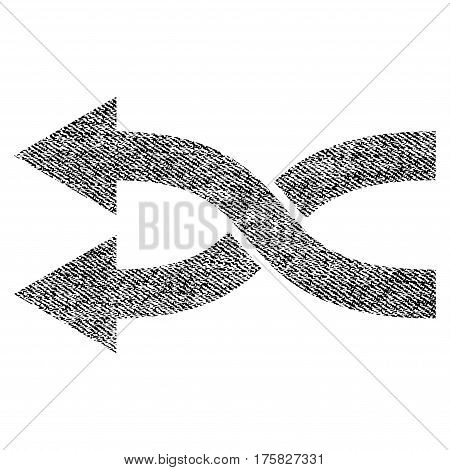 Shuffle Arrows Left vector textured icon for overlay watermark stamps. Black jeans fabric vectorized texture. Symbol with dirty design. Black ink rubber seal stamp with fiber textile structure.