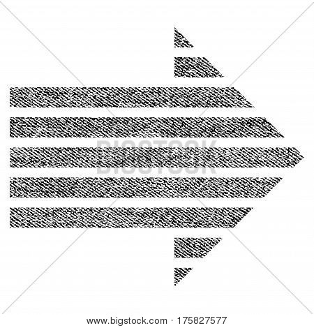 Stripe Arrow Right vector textured icon for overlay watermark stamps. Black jeans fabric vectorized texture. Symbol with dirty design. Black ink rubber seal stamp with fiber textile structure.