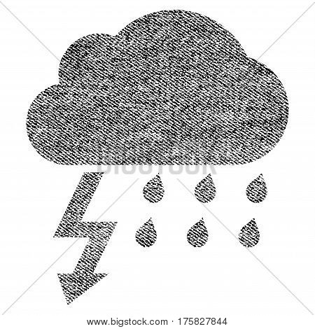 Thunderstorm vector textured icon for overlay watermark stamps. Black jeans fabric vectorized texture. Symbol with dirty design. Black ink rubber seal stamp with fiber textile structure.
