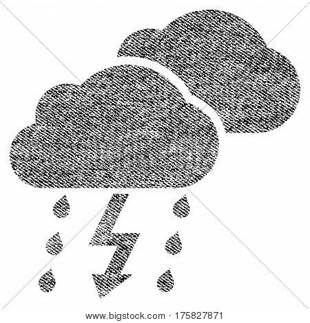 Thunderstorm Clouds vector textured icon for overlay watermark stamps. Black jeans fabric vectorized texture. Symbol with unclean design. Black ink rubber seal stamp with fiber textile structure.